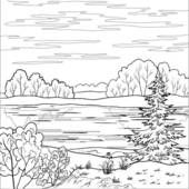 Landscapes 2 Clip Art - Black and white line drawings - pers ...