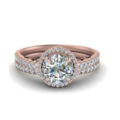 IGI Certified 1.07 Ct Round Diamond Engagement Band Set Solid 18K Rose Gold 5 7 #Handmade