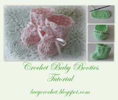 Lacy Crochet: Crochet Baby Booties Tutorial ♥️LBP-MRS♥️with step by step picture instructions. Crochet Baby Booties Tutorial, Crochet Baby Boots, Booties Crochet, Crochet Bebe, Crochet For Kids, Crochet Clothes, Free Crochet, Crochet Hats, Tutorial Crochet