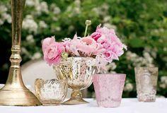 Pink blossoms in a gold mercury glass vase. Mercury Glass Centerpiece, Mercury Glass Wedding, Pink Centerpieces, Centerpiece Decorations, Flower Decorations, Wedding Decorations, Glass Votive, Trendy Wedding, Diy Wedding