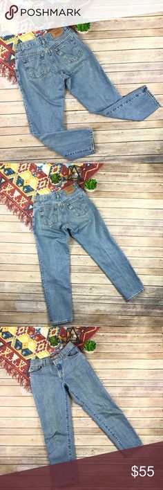 "Levi's 550 Vintage Jeans Vintage LEVI'S 550 Jeans. 90s High Rise Mom Jeans. Tapered Leg. Relaxed fit. High Waist. Light Wash. Zipper fly with single button closure.   Measurements:  Size label: 6 Pet M Waist: 14.5"" Rise: 10"" Inseam: 27.5"" Hips: 19.5"" Thigh: 10.5""  Condition: Vintage, well loved. Stained. Broken in.   Notes: *All measurements taken flat *Pre-Owned items may have been laundered  *Additional measurements upon request  *Vintage items likely to have signs of natural wear due to…"