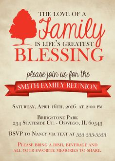 Rustic Family Reunion Invitation Digital By LukensHagedornDesign  Family Reunion Invitation Template