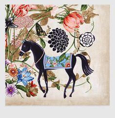 silk twill garden print scarf