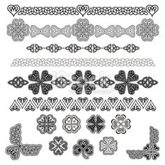 Set of Celtic Design Elements (BlackWhite) Royalty Free Stock Vector Art Illustration