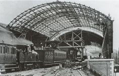 Station Haarlem omstreeks 1905 met werkzaamheden aan het nieuwe stationsgebouw - Serc