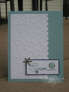 Nice use of Embossing Folder for a Simple Christmas Card