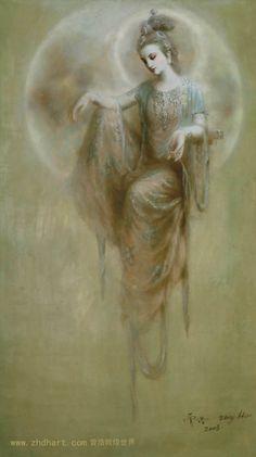 handpainted modern Dunhuang fairy on moon oil painting on canvas Dunhuang, Oracle Tarot, Sacred Feminine, Divine Feminine, Goddess Art, Guanyin, Gods And Goddesses, Oil Painting On Canvas, Art Reproductions