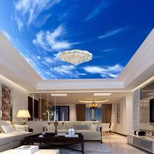 Blue Sky And White Cloud 3D Stereo Ceiling Mural Wallpaper Living Room Theme Hotel Interior Decor Ceiling Fresco Papel De Parede(China)