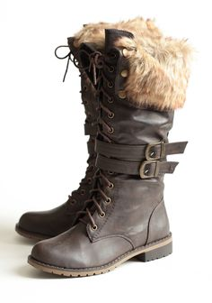Chilly Terrain Lace-up Boots 49.99 at shopruche.com. These chocolate-toned, faux leather lace-up boots feature folding tops with snap button closures and a cozy faux fur trim. Perfected with side buckles, a side zipper closure, brass-toned hardware, and grip soles for comfortable wear.All man-made material,...