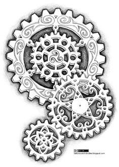 Steampunk by DreamSteam: Got Ink? Steampunk Tattoo Designs, Part 2 Steampunk Tattoo Design, Steampunk Drawing, Gear Drawing, Gear Tattoo, Geniale Tattoos, Steampunk Gears, Tatoo Art, Zentangle Patterns, Zentangles