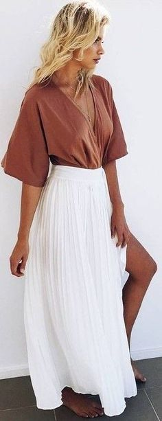#prefall #muraboutique #outfitideas |  Camel Blouse + White Pleated Maxi…