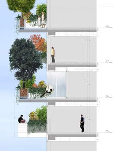 autocad for structure, photoshop used to add in people and vegetation