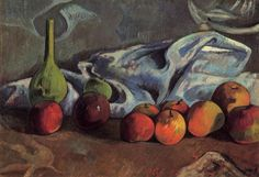 by Paul Gauguin in oil on canvas, done in . Now in a private collection. Find a fine art print of this Paul Gauguin painting. Paul Gauguin, Canvas Art Prints, Oil On Canvas, Painting Canvas, Klimt, Still Life With Apples, Image New, Fruit Painting, Basic Painting