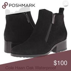Cole haan oak waterproof shearling pull on bootie Waterproof suede upper with faux shearling trim detail. Dual side zip closures. Back pull-tab for easy entry. Round toe. Textile lining. Padded leather footbed. Stacked heel. Rubber lug outsole. Imported.  In good condition but some wear on the heels. Will post more pics asap! Cole Haan Shoes Winter & Rain Boots