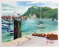"""""""Tranquil Harbour"""" - a Summer's day in beautiful Ilfracombe Harbour,Devon. Watercolour painting by Steve PP. http://www.stevepp.co.uk"""