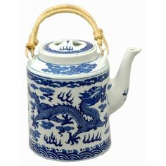 Amazon.com: Oriental Furniture Best Simple Gift Chinese Graduation 2011, 7-Inch Ming Blue and White Porcelain Teapot with Dragon Art: Home & Kitchen