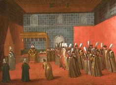 Sultan Ahmed III, Sultan of the Ottoman Empire, receives Dutch ambassador Cornelis Calkoen at the Topkapı Palace in Istanbul in 1727. Painting by Jean Baptiste Vanmour, 1727.