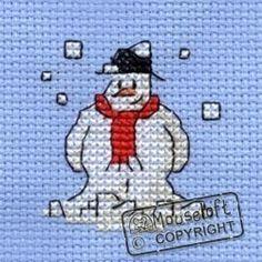 Stitchlets Christmas Card Cross Stitch Kit - Snowman
