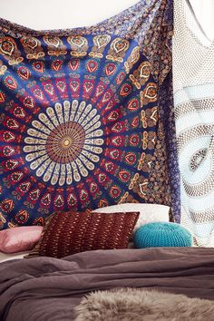 Magical Thinking Blue Floral Medallion Tapestry - Urban Outfitters pinterest: @ Nixon bradlee