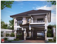 Two storey house plans with balcony for in ireland modern floor plan antique bungalow design philippines Two Storey House Plans, 2 Storey House Design, House Front Design, Modern House Design, Modern House Facades, Modern House Plans, Modern House Philippines, Style At Home, Filipino House