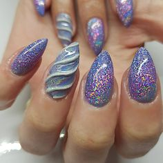 Unicorn nails by Emma Brock - using Lecenté Lavender and Mortar glitters!