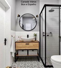 Box de Banheiro e Espelho Redondo de 80 -  Qualidades e Design Exclusivo - Box Roldanas Aparentes, Espelhos - F: (11) 99923-5586 canadavidros.com.br #espelhobanheiro #decoracao  #decoracaointeriores #arquiteto #arquitetura #banheirodecor #canadavidros #tendencias2020 Best Bathroom Designs, Bathroom Design Small, Bathroom Interior Design, Modern Bathroom, Rustic Bathrooms, Shower Bathroom, Vanity Bathroom, Master Bathroom, Bathroom Beadboard