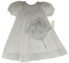 Newborn Girls White Smocked Dress & Bonnet