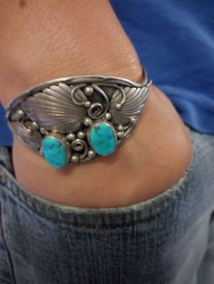Navajo Bisbee Turquoise Sterling Silver Cuff Bracelet by OldPawn