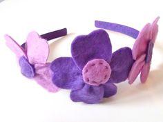 cerchietto con fiore in pannolenci bambina/donna viola/lilla : Moda bambina di mompatchwork