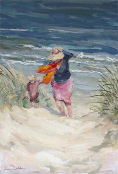 Going home - olie op linnen Ellen Davidzon Oil Painting Supplies, Oil Painting Techniques, Seaside Art, Beach Art, Painting People, Figure Painting, Paintings I Love, Art Paintings, Tableau Design