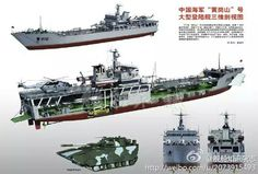 Chinese amphibious assault ship Military Drawings, Landing Craft, Concept Ships, Military Guns, Navy Ships, Military Equipment, Aircraft Carrier, Model Ships, Royal Navy