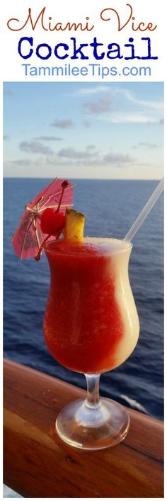 Miami Vice Drink Recipe you will love! This frozen cocktails the perfect combination of strawberry and pina colada