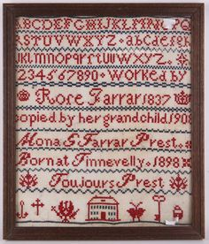 William IV, specimens of needlework, worked with romantic verse by Margaret Bakers, dated 1832, 53 x 41cm, sold with another later sampler (2).