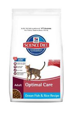 Hill`s Science Diet Adult Optimal Care Original Ocean Fish and Rice Recipe Dry Cat Food, 4-Pound Bag - Listing price: $16.52 Now: $11.42 + Free Shipping