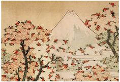 Katsushika Hokusai Mount Fuji Behind Cherry Trees and Flowers Art Poster Print Prints at AllPosters.com