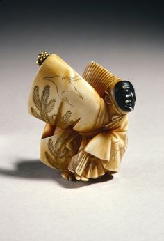 Netsuke (Dancer, Sambaso) Hojitsu, Edo Era The Asian Art Museum Katana, Chinoiserie, Edo Era, Asian Art Museum, Art Japonais, Japanese Characters, Celtic, Japan Art, Miniatures