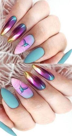 Wonderful Ombre Nail Art Design Ideas - New Ideas Nail Art Designs, Nail Designs Spring, Fingernail Designs, Cute Spring Nails, Spring Nail Art, Summer Nails, Gradient Nail Design, Nails Design, Nail Selection