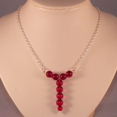 Sterling Silver Necklace With Siam Red Swarovski Crystal Globes