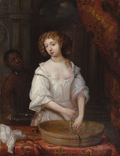 Charles II's lover Nell Gwyn as captured by an anonymous 17th-century hand... Symbolic that she handles sausage?