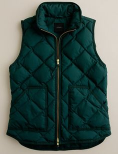 J. Crew hunter green quilted vest. I love this!