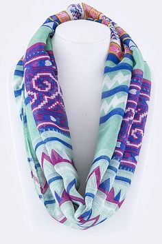 Tribal Print Infinity Scarf in Mint – Grace's Boutique