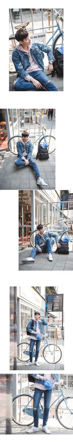 [[ES.06] 픽쳐 핸드 페인팅 데님 자켓] 청자켓코디 남자청청 청청패션 남자 쇼핑몰