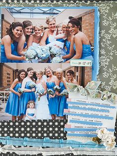 Dedicate a page in your wedding album to the wedding party -- bridesmaids, groomsmen, and other attendants.    Editor's Tip: Remember to have fun with the photos. Formal portraits are important to have, but casual shots bring life to a scrapbook page about the people you love.