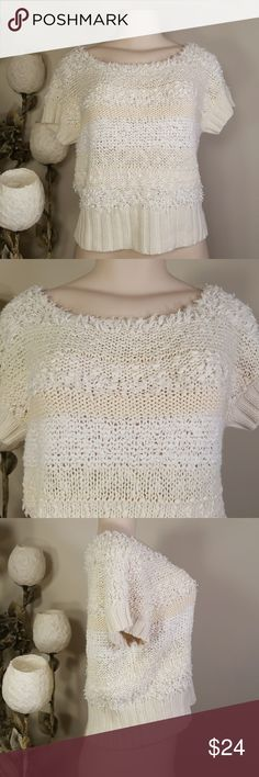 Free people sweater short sleeve Top Slightly worn  Short waist  No pulling, no stains  81% cotton 14% acrylic  5% other fibers Free People Sweaters