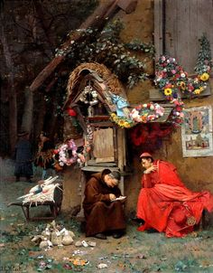 Jehan Georges Vibert (1840-1902) —  Adding Up the Donations (800x1024)