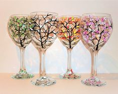 Ensemble de verres à vin peinte à la main 4 saisons - 4-20 oz rouge vin gobelets les quatre saisons d'hiver printemps été et automne neige fleurs