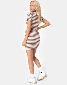 Donna Tagliato Spalla Abito MOON Hollow fuori manica corta Punk T-shirt dress