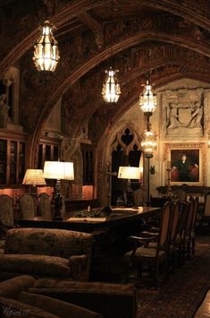Hearst Castle minutes from my home town in Cali). or awesome home for a vampire! Gothic Interior, Interior And Exterior, Interior Design, Lounge Design, Gothic Architecture, Interior Architecture, Gothic House, Gothic Castle, Victorian Homes