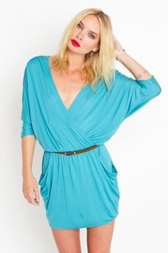 turquoise drape dress