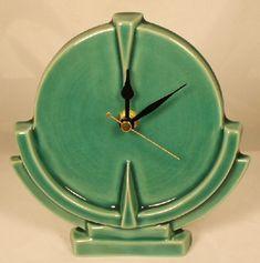 Echo of Deco Scientist Mantle Clock from Just Art Pottery Art Nouveau, Art Deco Furniture, Plywood Furniture, Furniture Design, Vintage Pottery, Pottery Art, Upcycled Vintage, Art Deco Stil, Antique Clocks